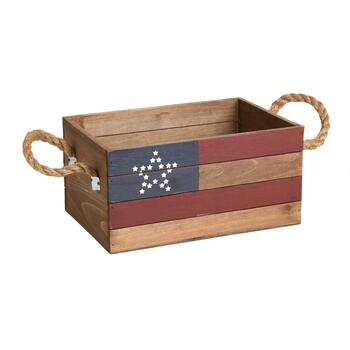 Stars and Stripes Slatted Wood Crate