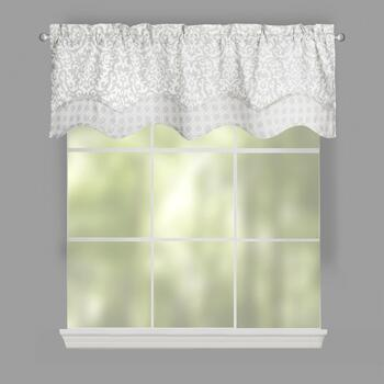 Traditions by Waverly® Silver Duncan Damask Window Valances, Set of 2