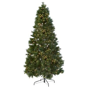 7' Pre-Lit White Micro LED Artificial Green Christmas Tree