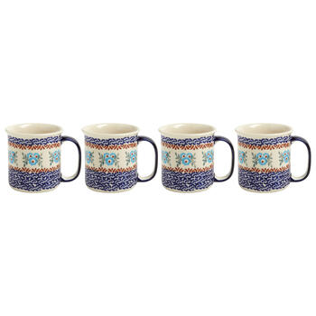 Polish Pottery Blue Floral Link Mugs, Set of 4 view 1