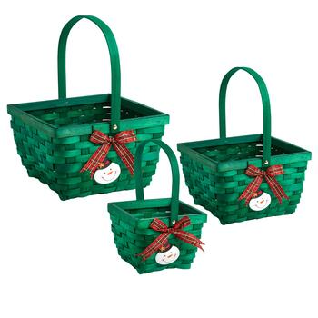 Green Snowman and Bow Baskets, Set of 3