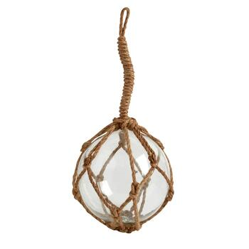 "8"" Rope-Wrapped Hanging Glass Buoy"