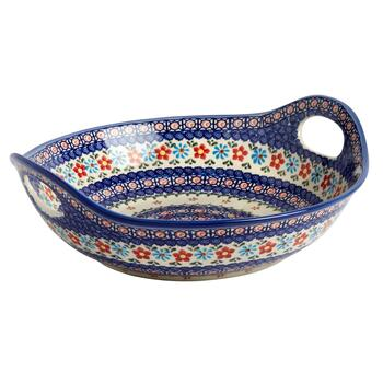 Anita Floral Polish Pottery Serving Bowl with Handles
