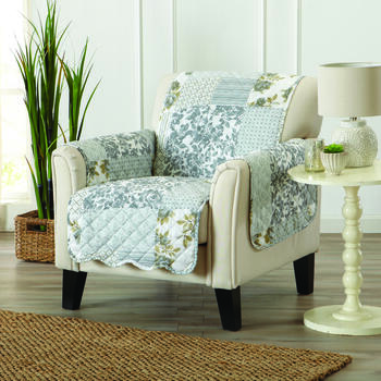 Reversible Gray Floral Print Quilted Chair Furniture Protector