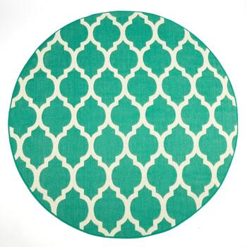 "6'7"" Teal Trellis All-Weather Accent Rug"