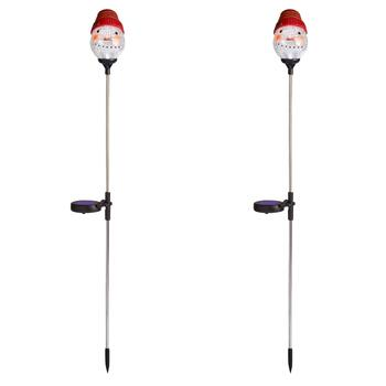 "33"" Red Hat Crackled Glass Snowman Solar Stakes, Set of 2"
