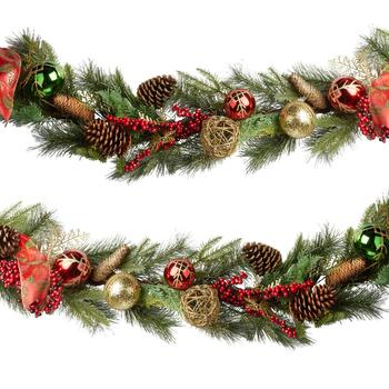 "35"" Christmas Tree Garland with Red Bow"