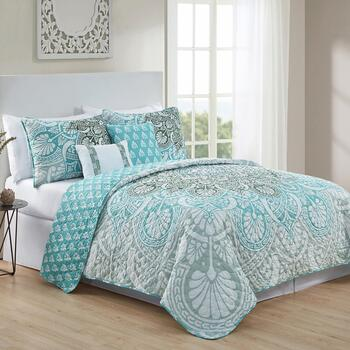 Tory Teal Shells Reversible Quilt Set, 5-Piece