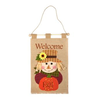 "17"" ""Welcome Fall"" Scarecrow Burlap Banner"