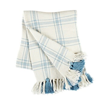 The Grainhouse™ Blue/White Plaid Woven Cotton Throw with Fringe view 1