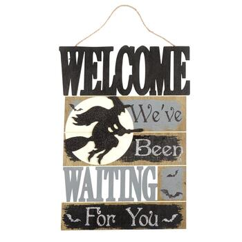 "15""x21"" ""Welcome, We've Been Waiting"" Cutout Wood Wall Sign"