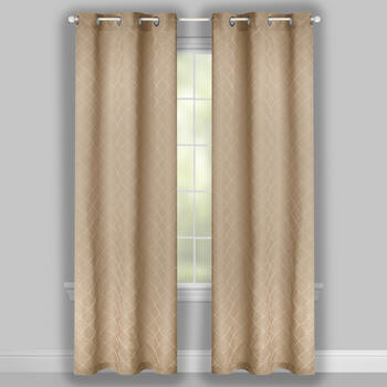 "84"" Diamond Jacquard Grommet Top Window Curtains, Set of 2 view 2"