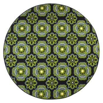 "6'7"" Round Green Medallion All-Weather Rug"