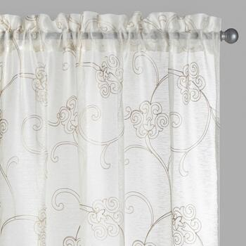 Ivory Floral Scroll Embroidered Window Curtains, Set of 2