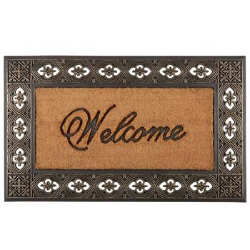 "24""x36"" ""Welcome"" Coir Door Mat with Fleur-de-lis Border"