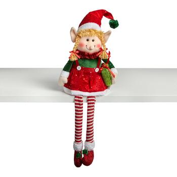 "15"" Dangling Legs Green/Red Sitting Elf Girl"