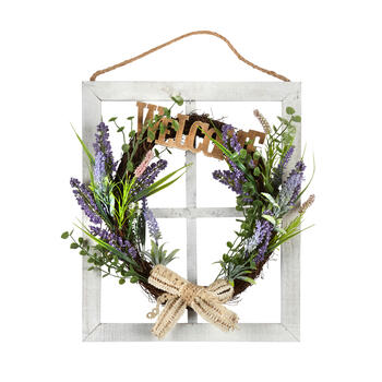 "17.5"" ""Welcome"" Lavender Wreath Window Wall Hanger view 1"