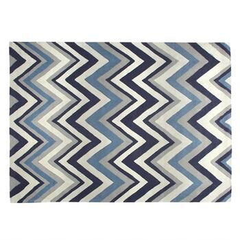 Blue/White Chevron Area Rug
