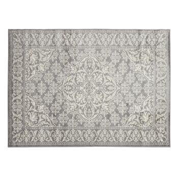 Gray Damask Center Medallion Area Rug