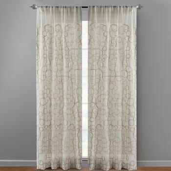 "84"" Tan Embroidered Loops Window Curtains, Set of 2"
