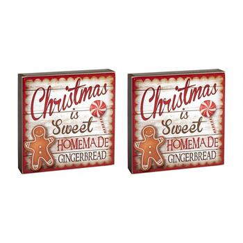 "8"" ""Christmas Is Sweet"" Gingerbread Wood Sitters, Set of 2"