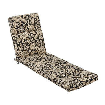 Black/Beige Floral Scroll Indoor/Outdoor Hinged Chaise Chair Pad view 1