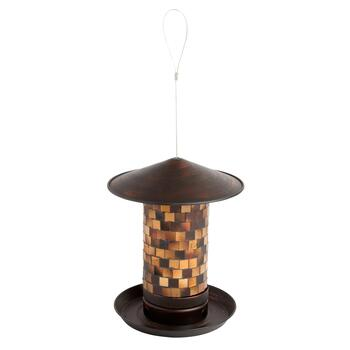 Tan/Gold Square Glass Mosaic Bird Feeder