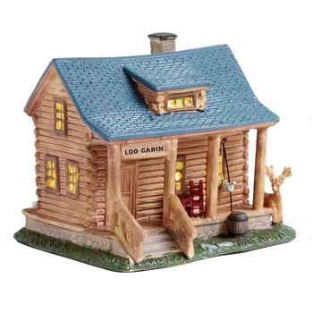 "5.75"" Log Cabin Miniature Lighted Home"