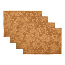 Solid Damask Leaf Easy-Care Fabric Placemats, Set of 4