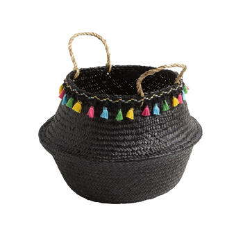 "14.5"" Multicolor Tassel Seagrass Storage Basket view 1"