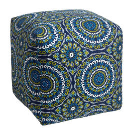 Blue Medallion Indoor/Outdoor Square Ottoman view 1