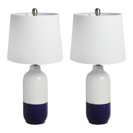 "25"" Navy Dip Dye Ceramic Table Lamps, Set of 2 view 1"