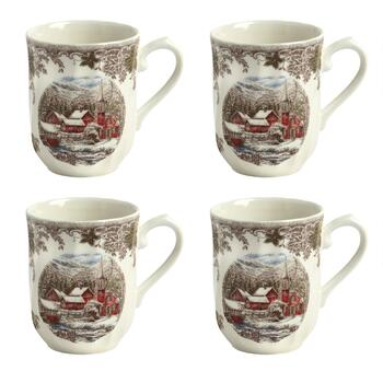 Winter Village Ceramic Mugs, Set of 4