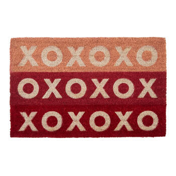 """XO"" Pink/Red Coir Mat view 1"