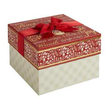 """Winter Wishes"" Square Gift Box with Bow view 1"