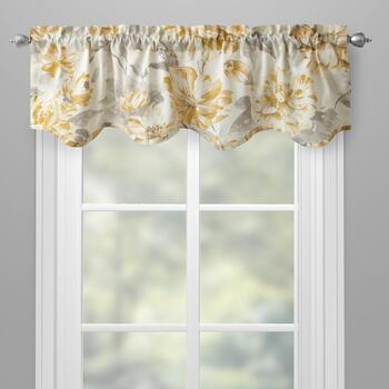Gray Fl Scalloped Window Valance