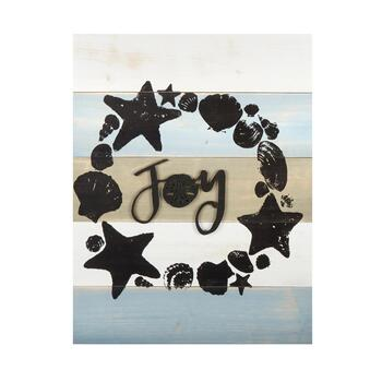 """Joy"" Starfish and Shells Wood Wall Decor"