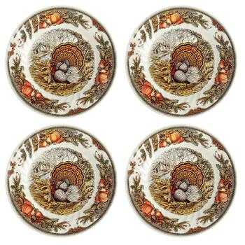 Harvest Turkey Ceramic Dinner Plates, Set of 4