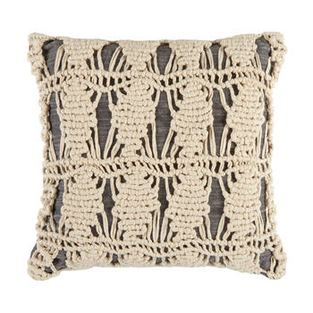 The Grainhouse™ Macrame Overlay Square Throw Pillow view 1