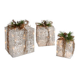 Silver/Brown Sequined Gift Boxes with Lights, Set of 3 view 1