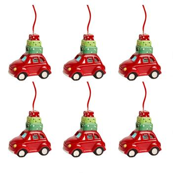 Red Car Ceramic Ornaments with LED Gifts, Set of 6