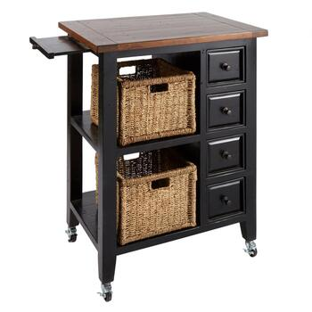 Black Wood 4-Drawer/2-Basket Rolling Island