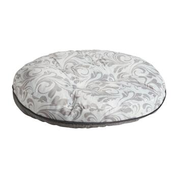 Gray Scroll Extra-Large Oval Pet Bed