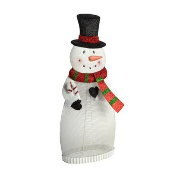 "24"" Glitter Mesh Metal Snowman Decor"