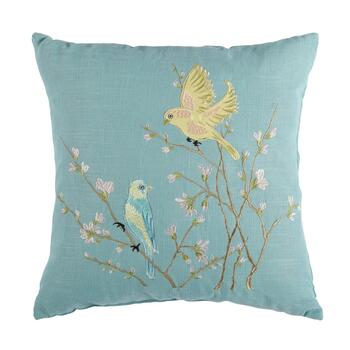 Flower Birds Embroidered Square Throw Pillow