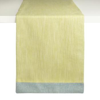 Green/Blue Trim Woven Cotton Table Runner