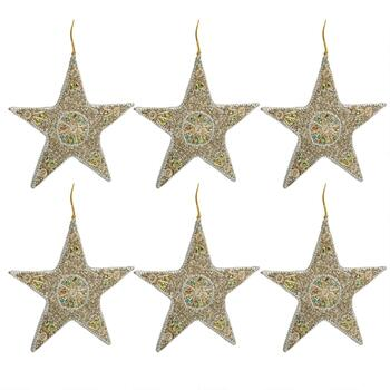 Beads and Jewels Embellished Star Ornaments, Set of 6
