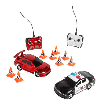 Remote Control Drift Racer and Police Car Play Set, 2-Pack view 1