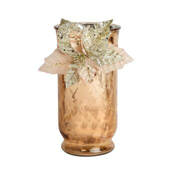 "10"" Jessie Glitter Leaves Pillar Candle Holder"