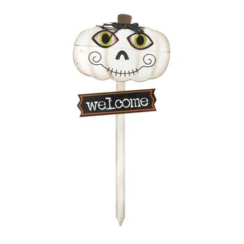 "36"" ""Welcome"" White Pumpkin Wood Garden Stake"